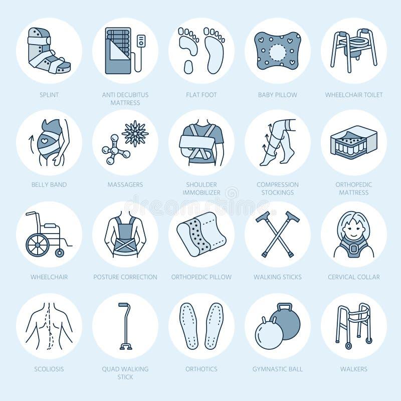 Ortopedyczny, uraz rehabilitaci linii ikony Szczudła, orthopedics materac poduszka, karkowy kołnierz, piechurzy i inny, ilustracja wektor