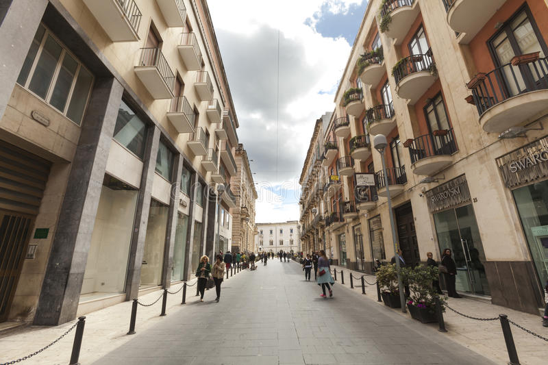 Ortygia西西里岛, Corso贾科莫・马泰奥蒂街 库存照片
