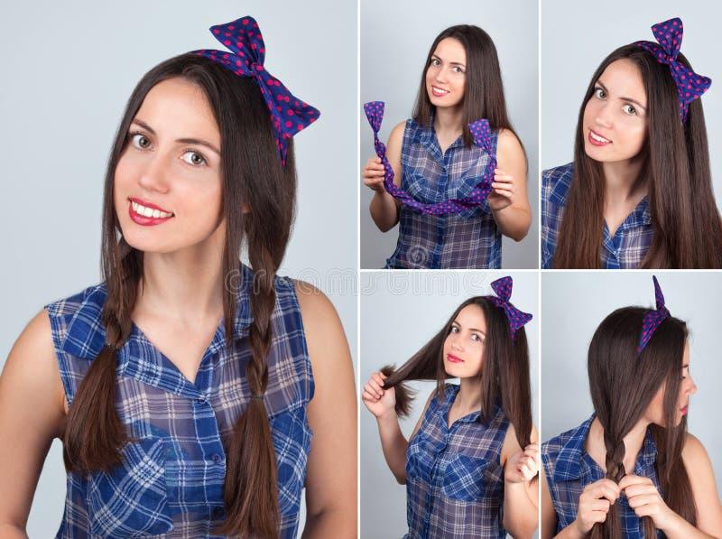 Orubblig flätad trådfrisyr Orubbligt hår arkivbild