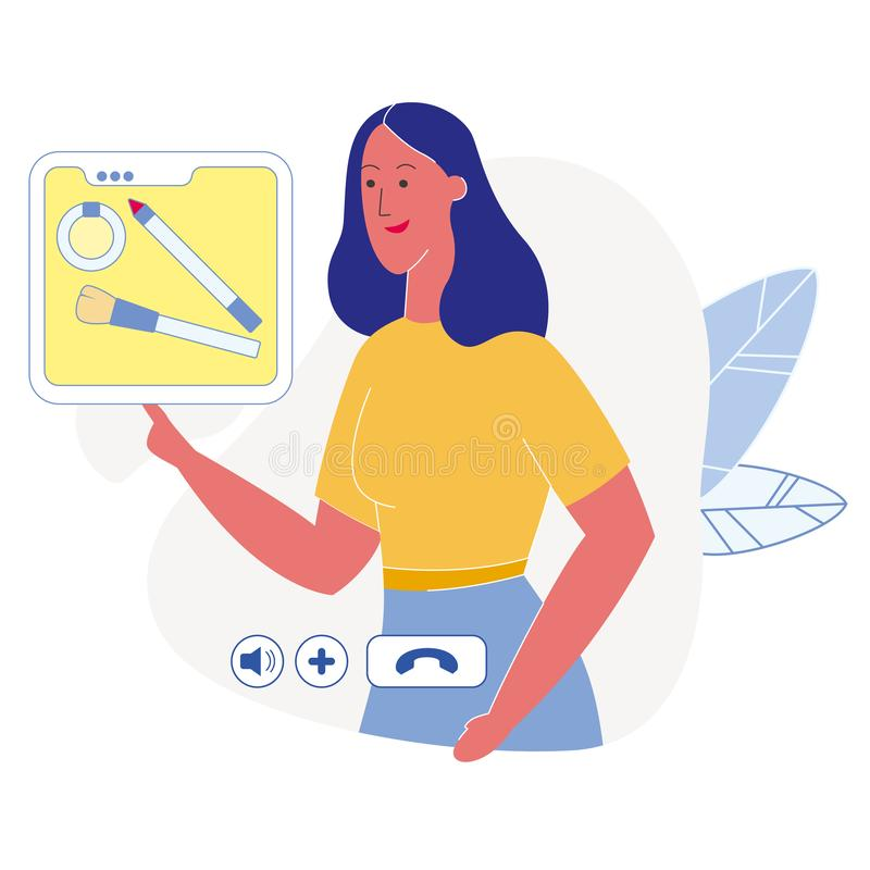 Orubblig plan illustration för skönhetBloggermakeup vektor illustrationer