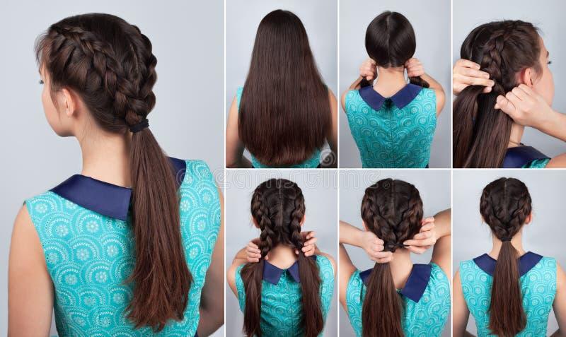 Orubbligt hår Flätad trådfrisyr som är orubblig för långt hår royaltyfria foton