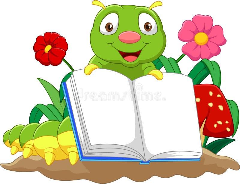 Oruga linda de la historieta que sostiene el libro ilustración del vector