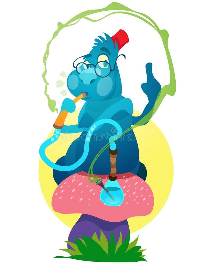Orugas azules en una seta mágica Ejemplo a las aventuras de la Alicia del cuento de hadas en el país de las maravillas ilustración del vector