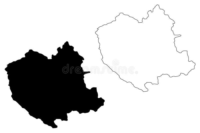 Oruro-Abteilungs-multinationaler Staat von Bolivien, Abteilungen der Bolivien-Kartenvektorillustration, Gekritzelskizze Oruro-Kar lizenzfreie abbildung