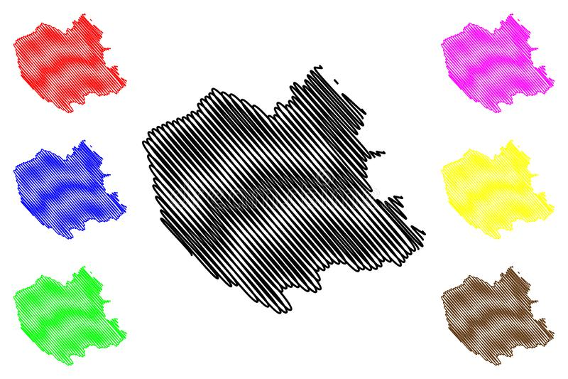 Oruro-Abteilungs-multinationaler Staat von Bolivien, Abteilungen der Bolivien-Kartenvektorillustration, Gekritzelskizze Oruro-Kar vektor abbildung