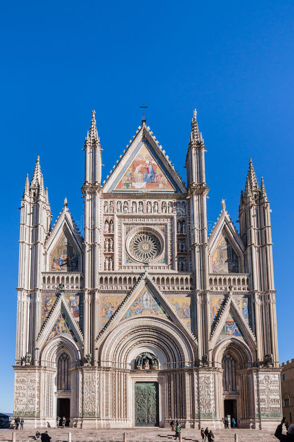Orvieto Cathedral. The magnificent facade of the Orvieto Cathedral royalty free stock photo