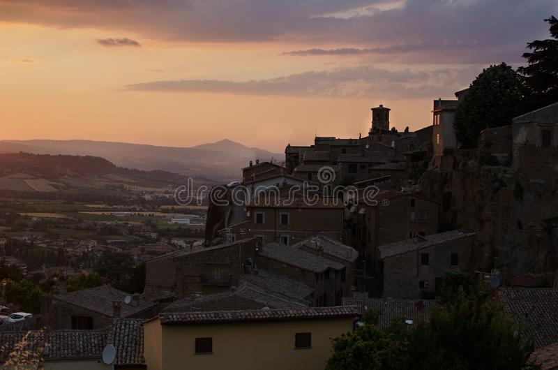 Orvieto by sunset royalty free stock image