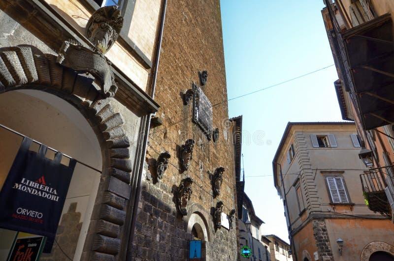 Orvieto Umbria, 30 Augusti 2015 Den historiska mitten royaltyfri bild