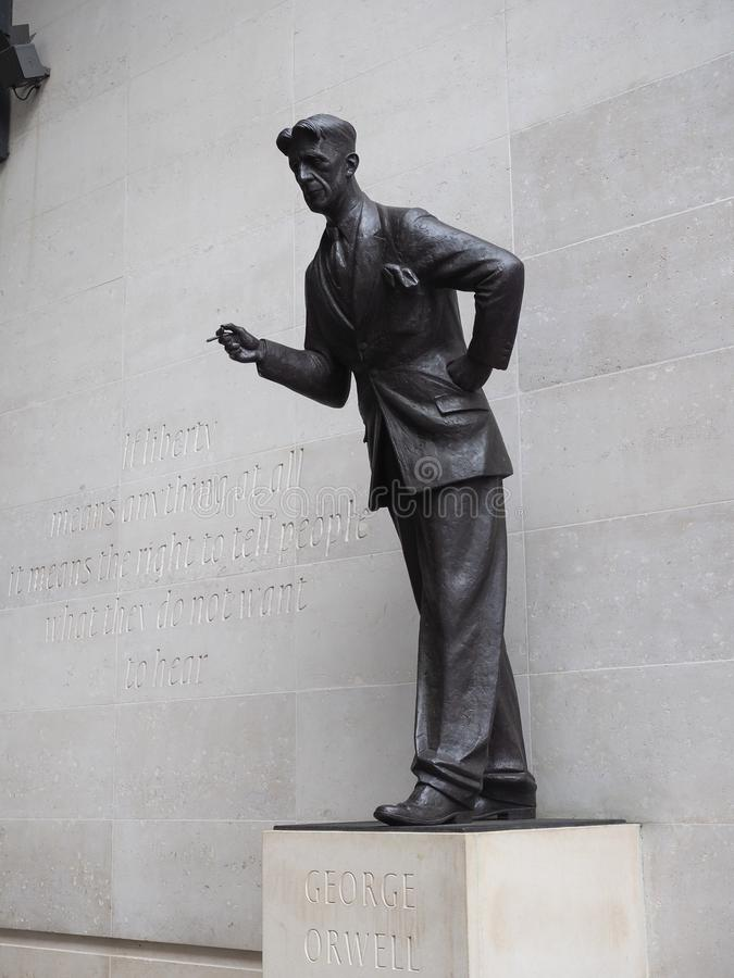 Orwell statue at BBC Broadcasting House in London. LONDON, UK - CIRCA SEPTEMBER 2019: George Orwell in front of BBC Broadcasting House in Portland Place stock image
