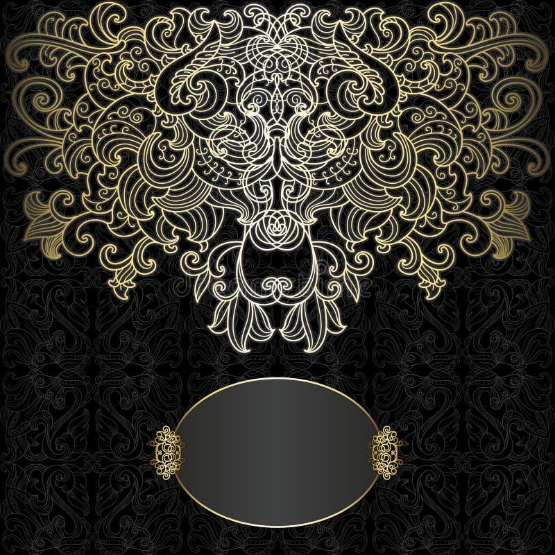 Oryginał karta z czernią i złocistym projektem ilustracji