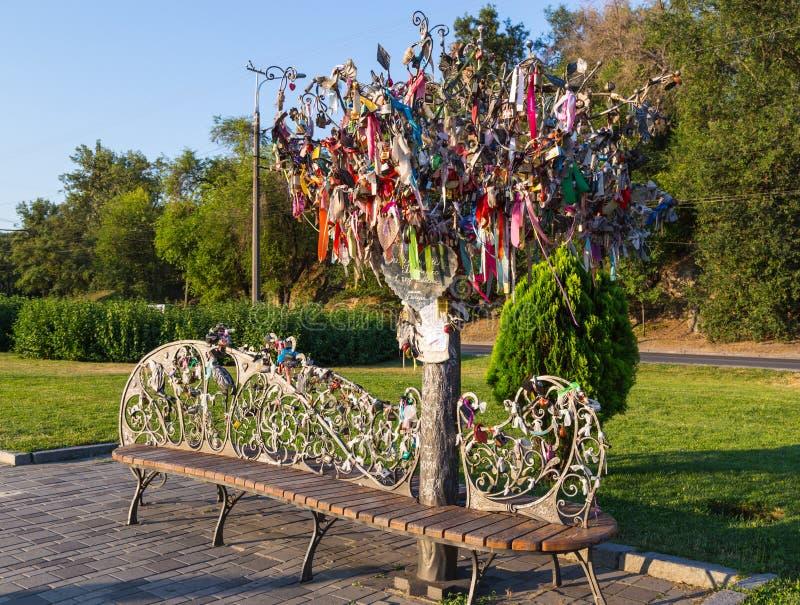 Download Oryginalna Dokonanego żelaza ławka I Drzewo życzenia (drzewo Happin Zdjęcie Stock - Obraz złożonej z greg, instalacja: 57664254