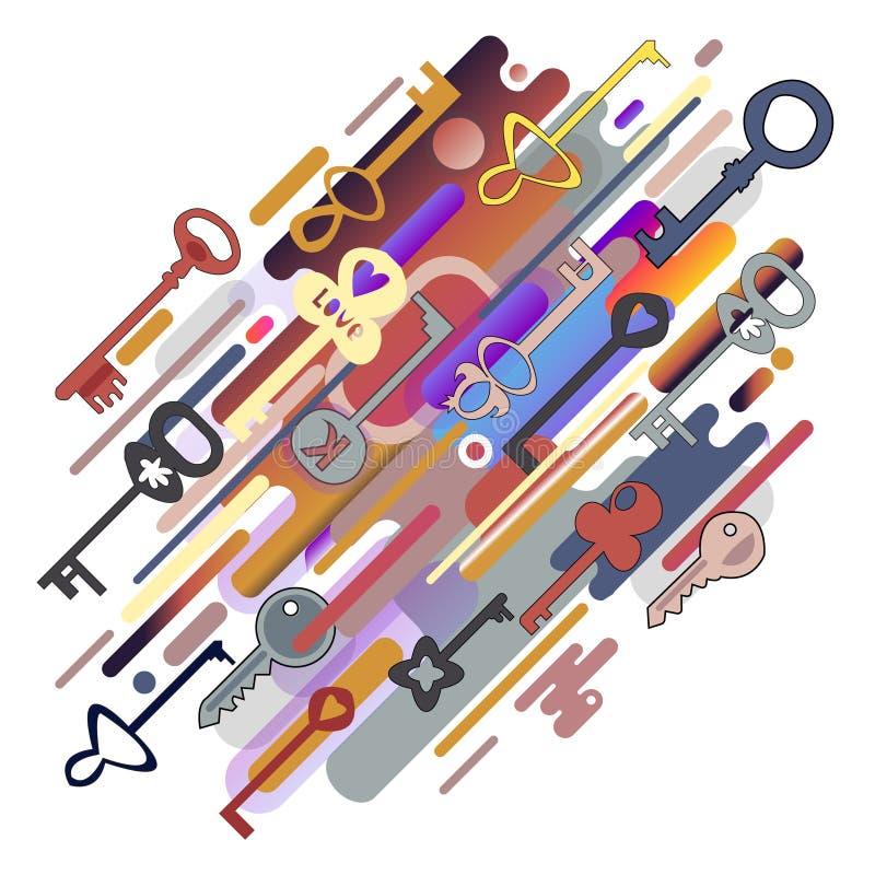 Oryginalna piękna kombinacja abstrakcja nowożytny styl z składem różnorodne zaokrąglone postacie i klucze w istnym col ilustracji