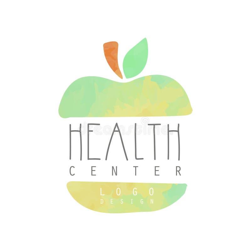 Oryginalna ręka rysujący emblemat z kolorowym zielonym jabłkiem Loga projekt dla alternatywnej medycyny lub centrum zdrowia Pojęc royalty ilustracja