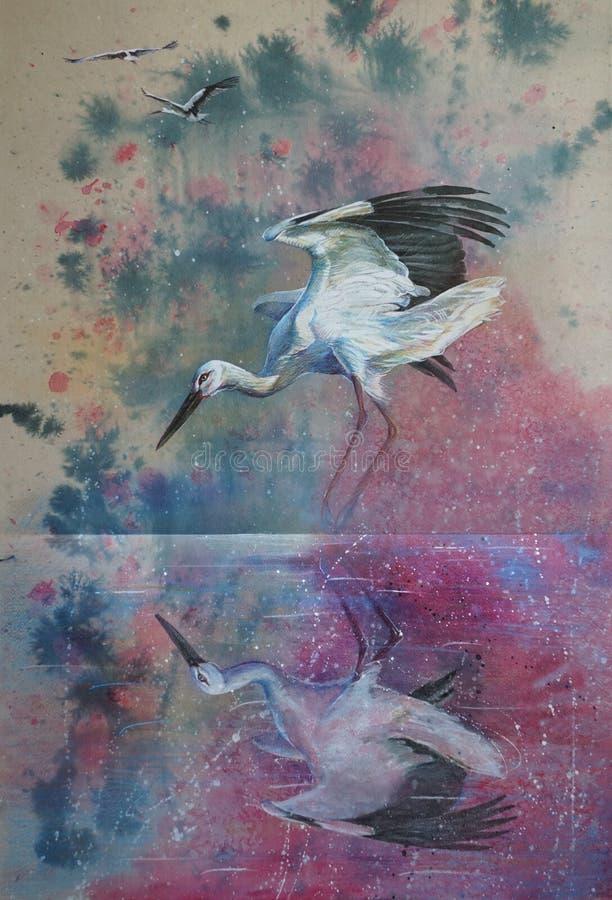 Oryginalna sztuka, akwarela obraz bocian przed zmierzchu niebem i bociana odbicie w wodzie, ilustracji