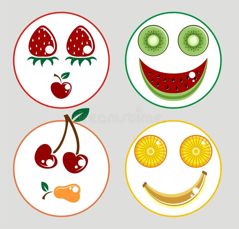 Oryginalne Śmieszne owoc uśmiechu twarze ilustracji