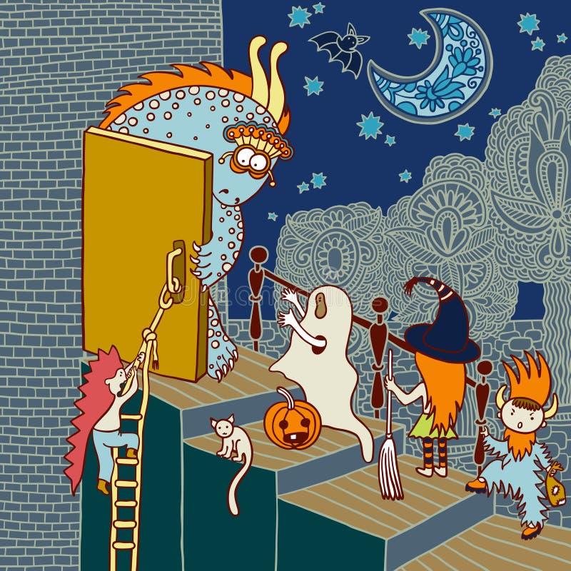 Oryginalnego doodle Halloween artystyczna karta ilustracja wektor