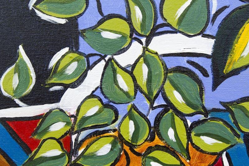 Oryginalnego obrazu olejnego zakończenia up szczegół - liście obrazy stock