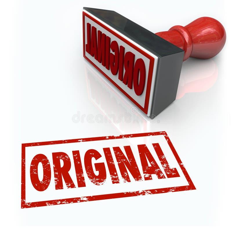 Oryginalnej słowo znaczka Pierwszy innowaci Kreatywnie oryginalność Unikalna ilustracja wektor