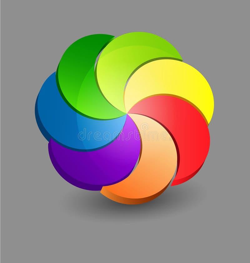 Abstrakcjonistyczny chromatyczny 3D projekta element ilustracja wektor