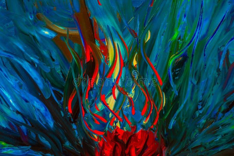 Oryginalny abstrakcjonistyczny obraz olejny Tło zdjęcie royalty free