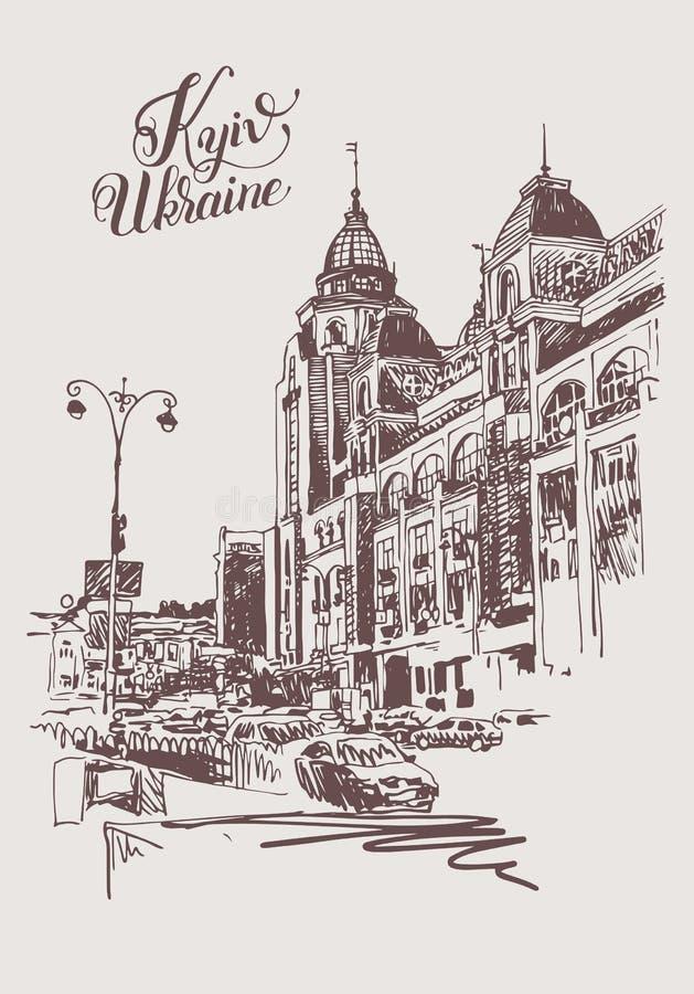 Oryginalny cyfrowy nakreślenie Kyiv, Ukraina miasteczka krajobraz ilustracja wektor