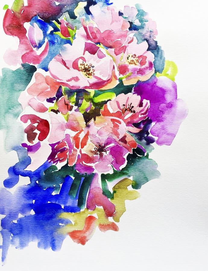 Oryginalny handmade akwarela obraz menchia kwiat royalty ilustracja