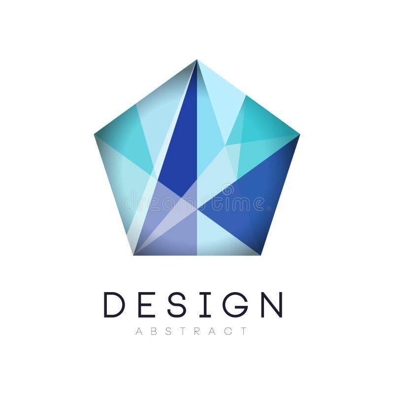Oryginalny krystaliczny logo w gradientowym błękitnym kolorze Firma oznakuje tożsamość Luksusowa geometryczna ikony etykietka Wek royalty ilustracja