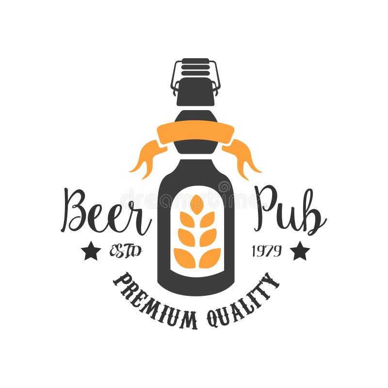 Oryginalny loga szablon dla pubu Kolorowy emblemat z butelką piwo, banatki gałąź i faborek, alkoholiczny napój wektor ilustracji