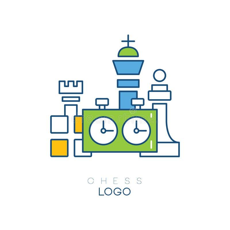 Oryginalny logo dla szachowego klubu z postaciami i zegarem Kreskowego stylu emblemat z zielenią, błękitem i żółtą pełnią, 10 tło ilustracja wektor
