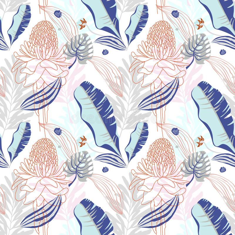 Oryginalny modny bezszwowy artystyczny kwiatu wzór, piękny trop royalty ilustracja
