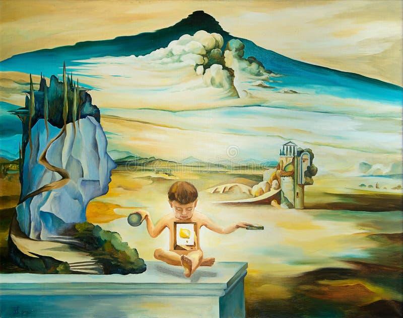 Oryginalny obraz olejny opierający się na Salvador Dali ilustracja wektor