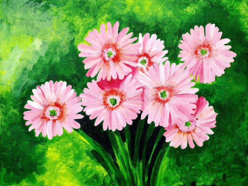 Oryginalny obraz piękna różowa gerbera stokrotka ilustracja wektor