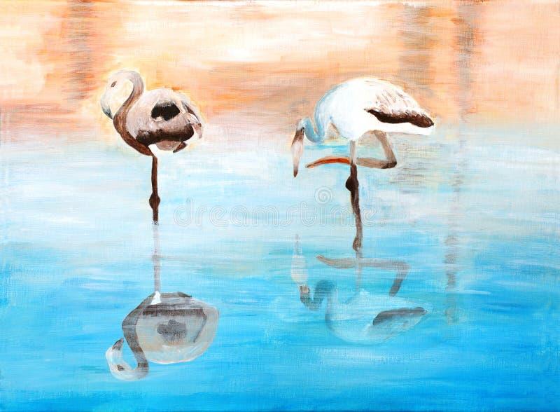 Oryginalny obraz Piękni flamingi & dramati ilustracja wektor