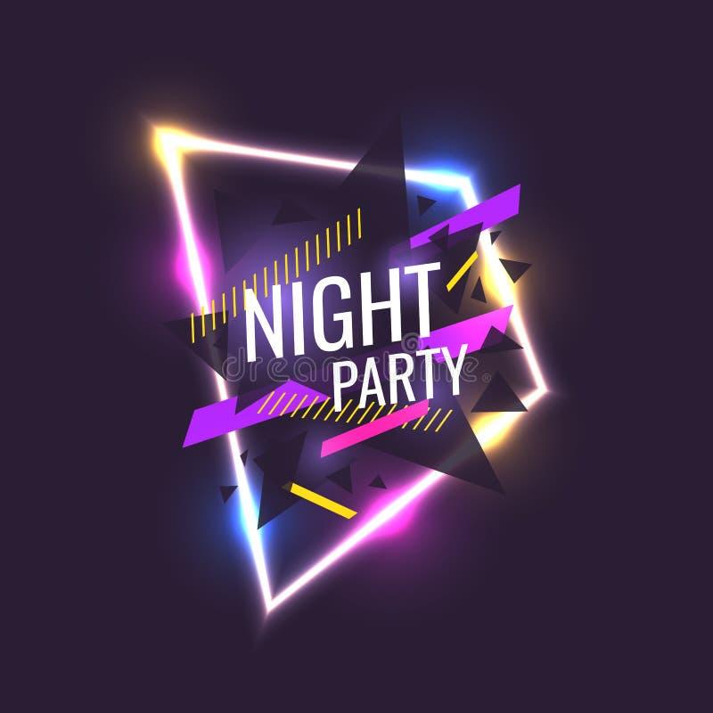 Oryginalny plakat dla nocy paty Geometryczni kształty i neonowa łuna przeciw ciemnemu tłu ilustracji