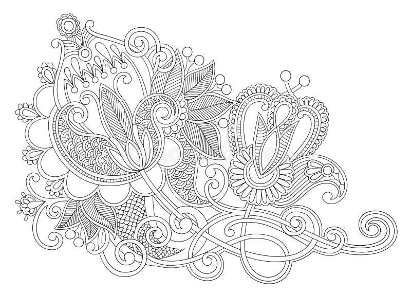 Oryginalny ręka remisu kreskowej sztuki kwiatu ozdobny projekt royalty ilustracja