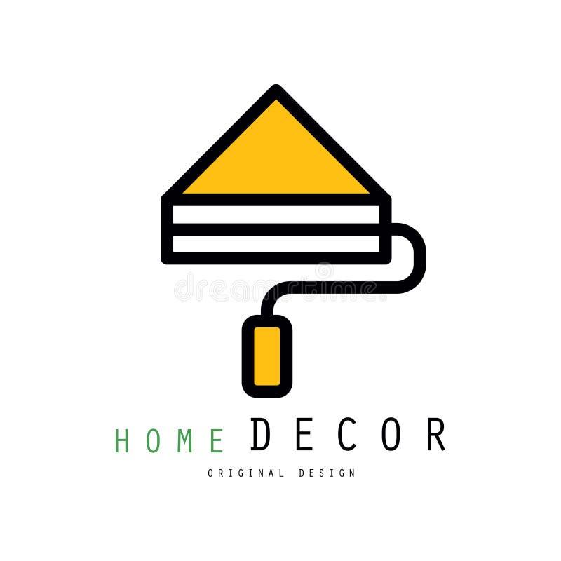 Oryginalny wektorowy loga szablon z farba rolownikiem dla wewnętrznych decorators i projektantów Liniowy emblemat dla domowego ob royalty ilustracja
