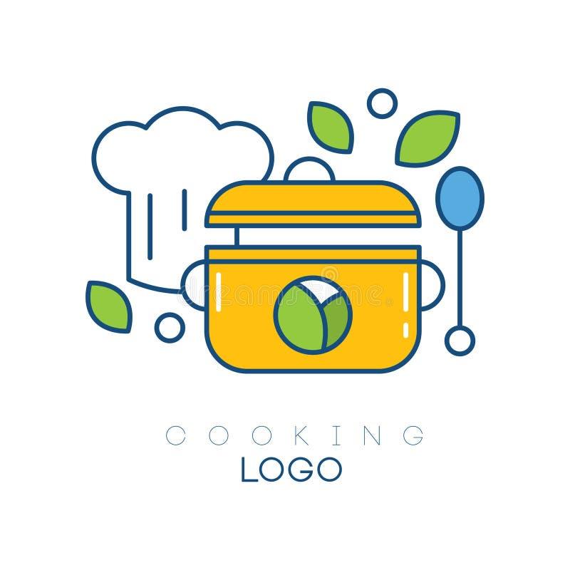 Oryginalny wektorowy loga szablon z kapeluszem, łyżką, rondlem i liśćmi szefa kuchni s, Projekt dla gotować lub kulinarni kursów ilustracja wektor