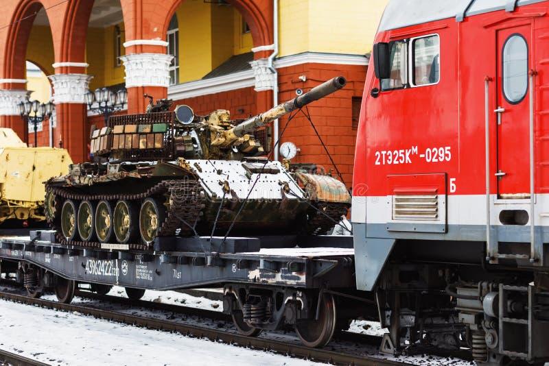 ORYOL, RÚSSIA - 25 DE FEVEREIRO DE 2019: Trem da ação militar-patriótica 'fratura síria 'com equipamento militar capturado fotos de stock royalty free