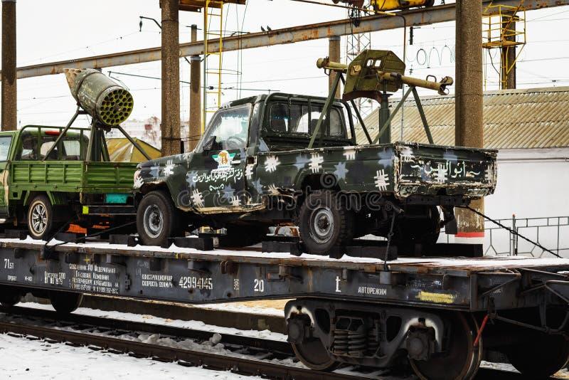 """ORYOL, RUSSIE - 25 FÉVRIER 2019 : Jihadists syriens de voitures Le train de l'action militaire-patriotique """"fracture syrienne """" photo libre de droits"""