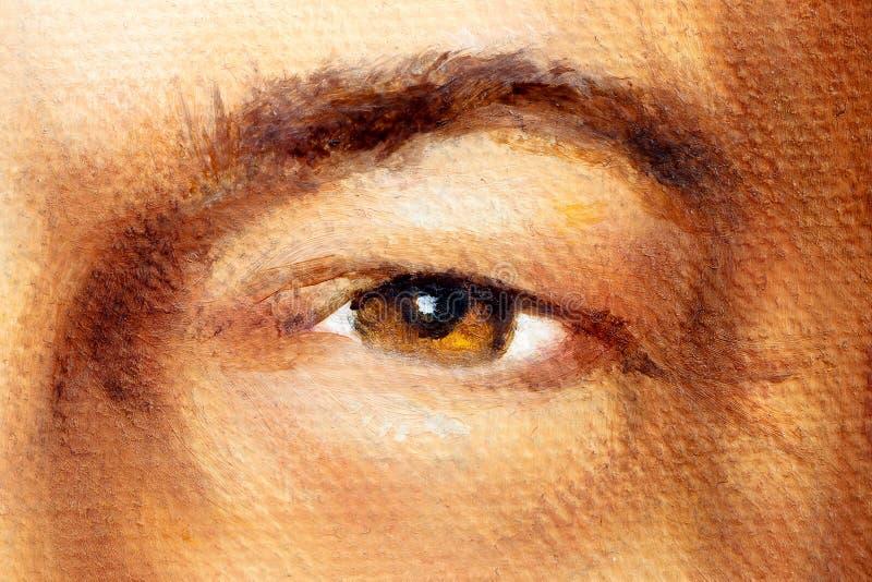 Orzechowy brown mężczyzna oko w szczególe, obraz olejny fotografia stock