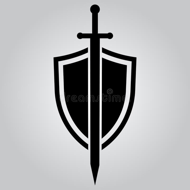 Osłona i kordzik przygotowywa ikonę royalty ilustracja