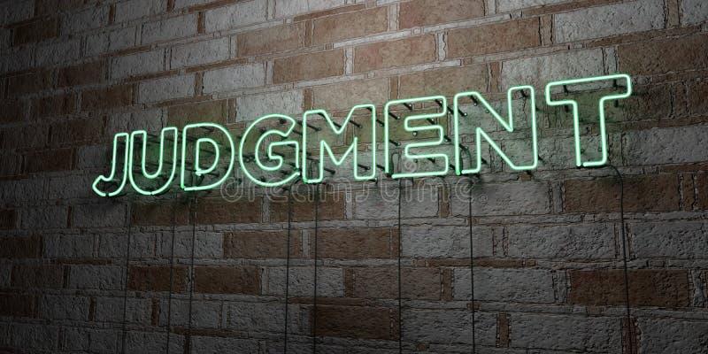 OSĄDZENIE - Rozjarzony Neonowy znak na kamieniarki ścianie - 3D odpłacająca się królewskości bezpłatna akcyjna ilustracja ilustracji