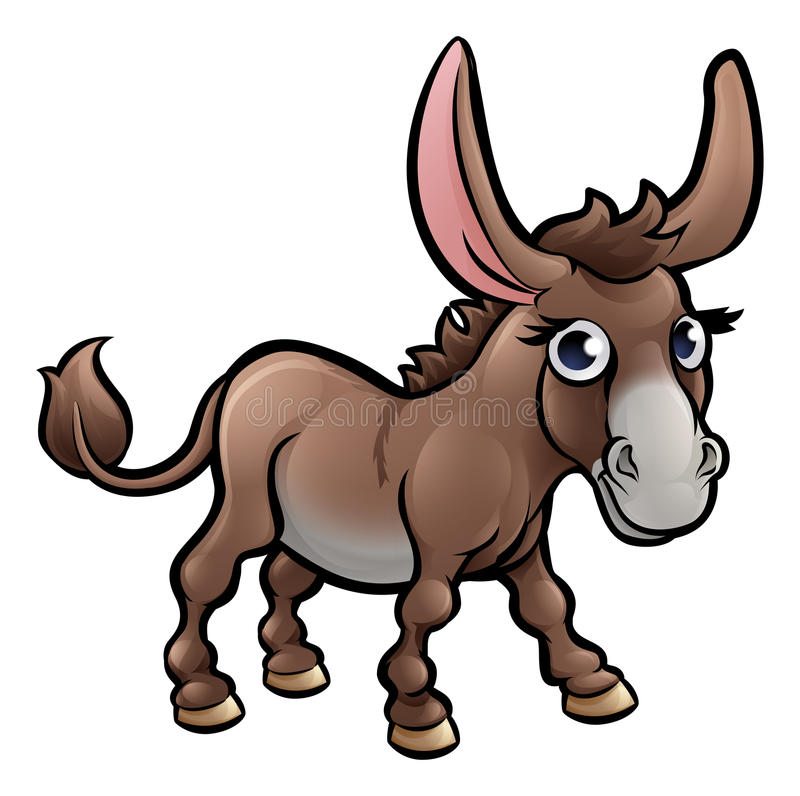 Osłów zwierząt gospodarskich postać z kreskówki ilustracji