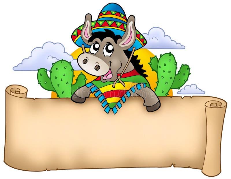 osła mienia meksykanina pergamin ilustracja wektor