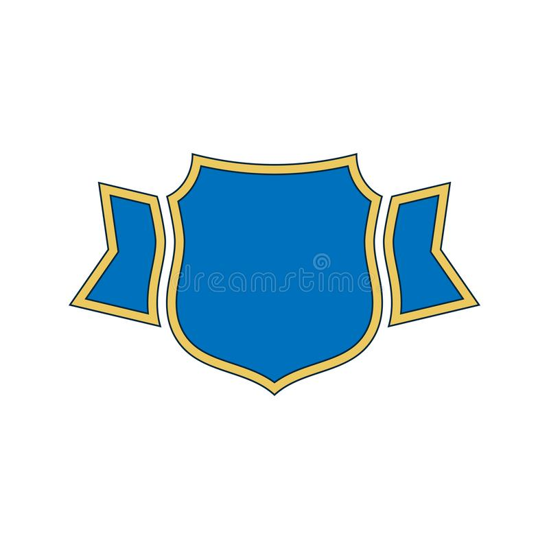 Osłania błękitnej ikony konturu Złocistą osłonę, złoty prosty faborek odizolowywający biały tło r ilustracja wektor