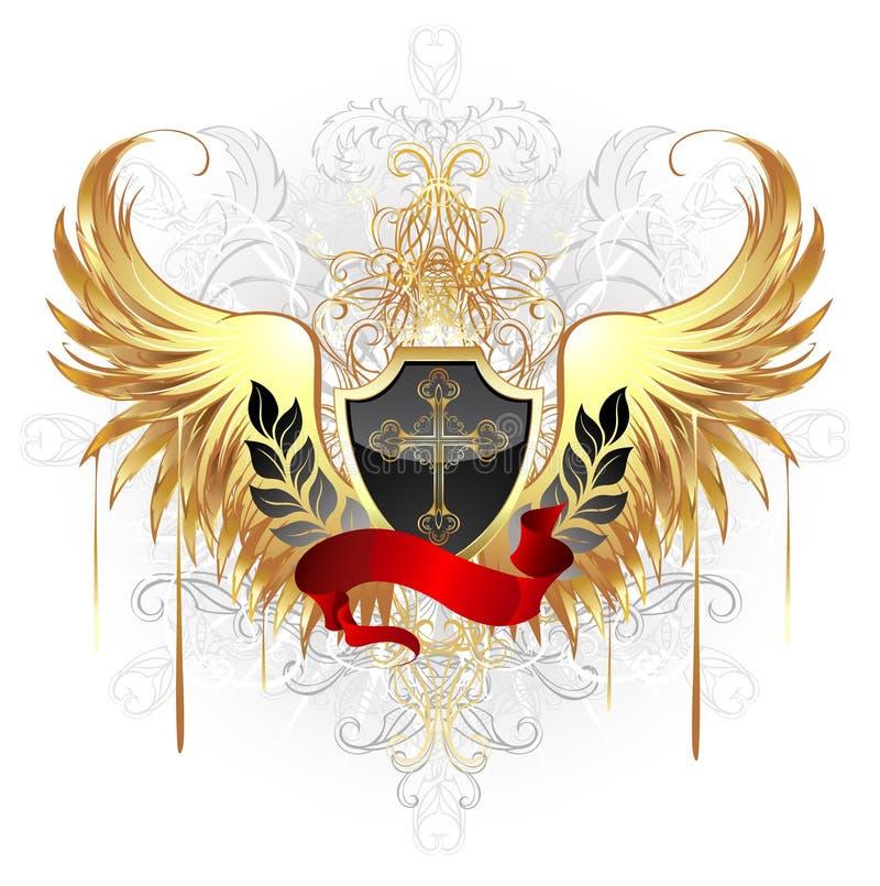 osłoien czarny złoci skrzydła royalty ilustracja