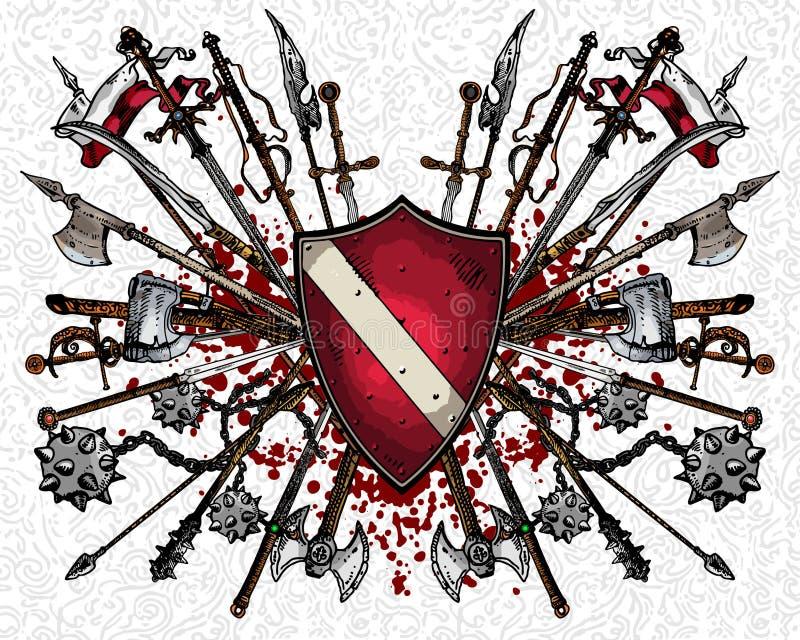 osłoien heraldyczne bronie royalty ilustracja