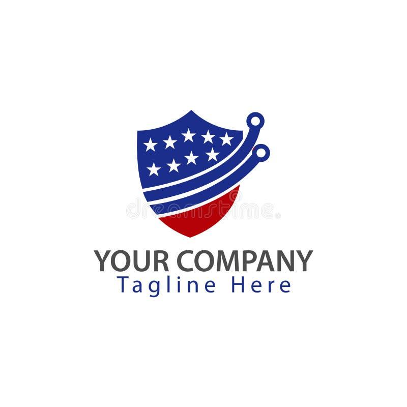 Osłona i flaga amerykańska Technologii ikona ilustracja wektor