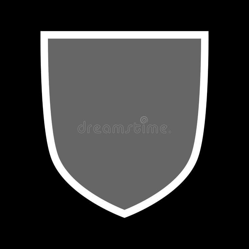 Osłona kształta ikona Szarości etykietki znak, odosobniony na czarnym tle Symbol ochrona, ręki, ochrona, bezpieczeństwo mieszkani royalty ilustracja