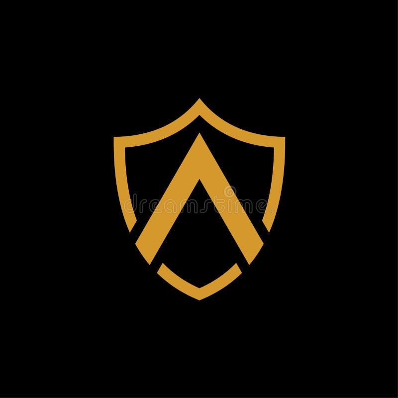 Osłona kształta logo złocisty wektor na czarnym tle royalty ilustracja